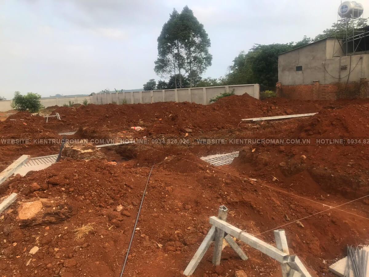đào móng biệt thự mặt tiền 13m