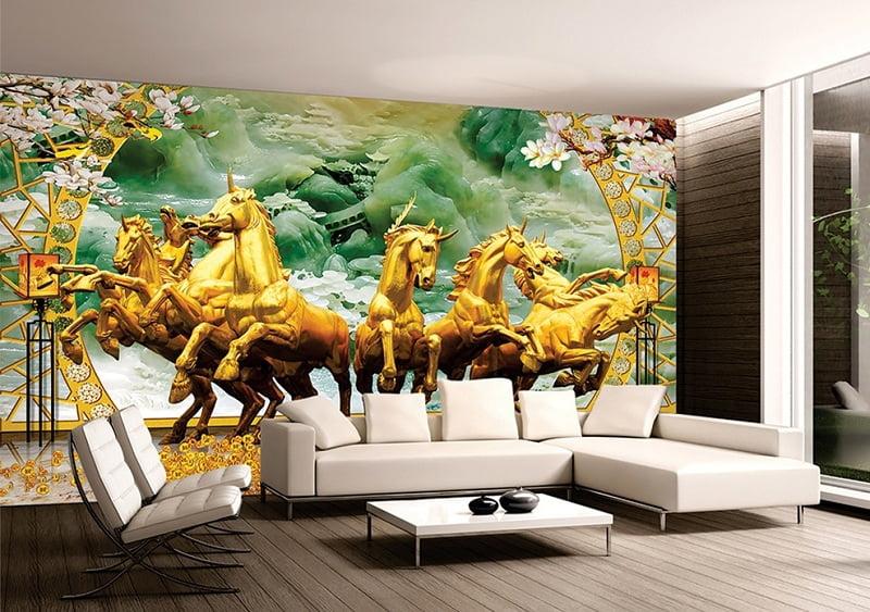 gạch tranh ốp tường phòng khách mã đáo thành công