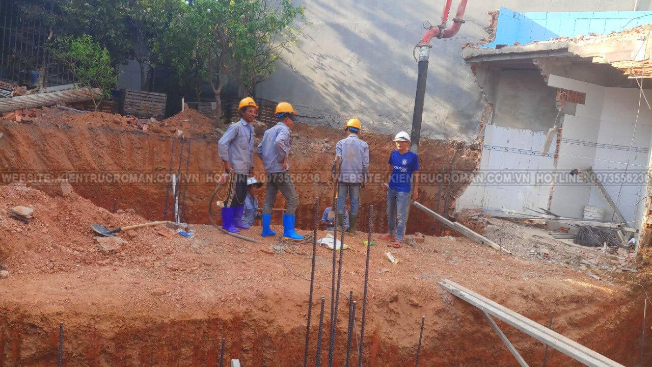 đào móng biệt thự phố mặt tiền 10m đào móng