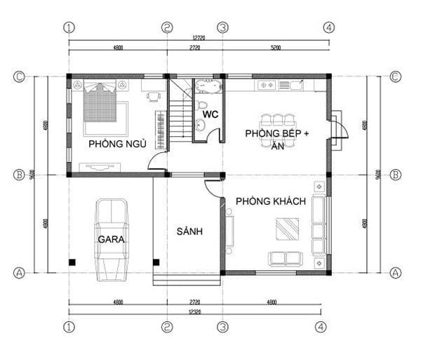 mặt bằng biệt thự 2 tầng 12
