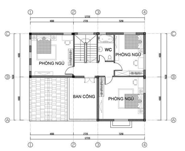mặt bằng biệt thự 2 tầng 13
