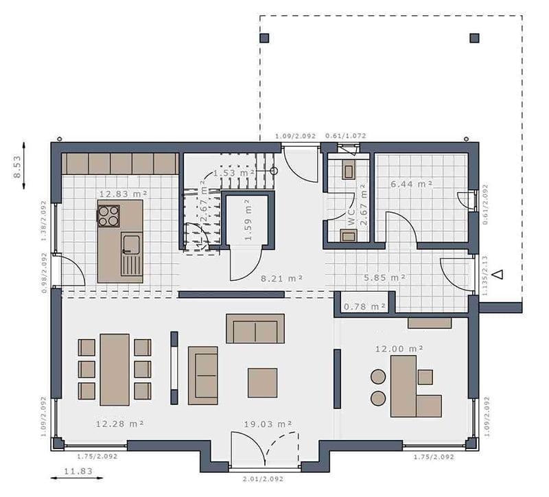 mặt bằng biệt thự 2 tầng 18