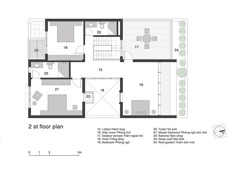 mặt bằng biệt thự 2 tầng 3