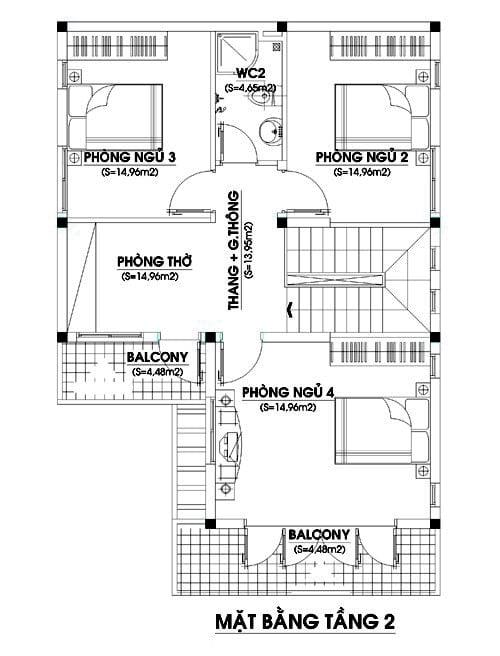 mặt bằng biệt thự 2 tầng 6