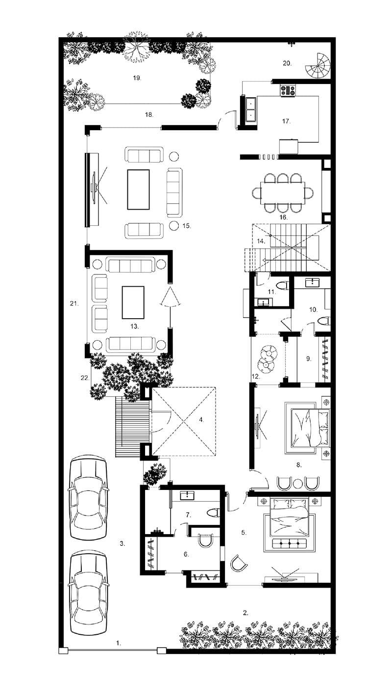mặt bằng biệt thự 2 tầng 9