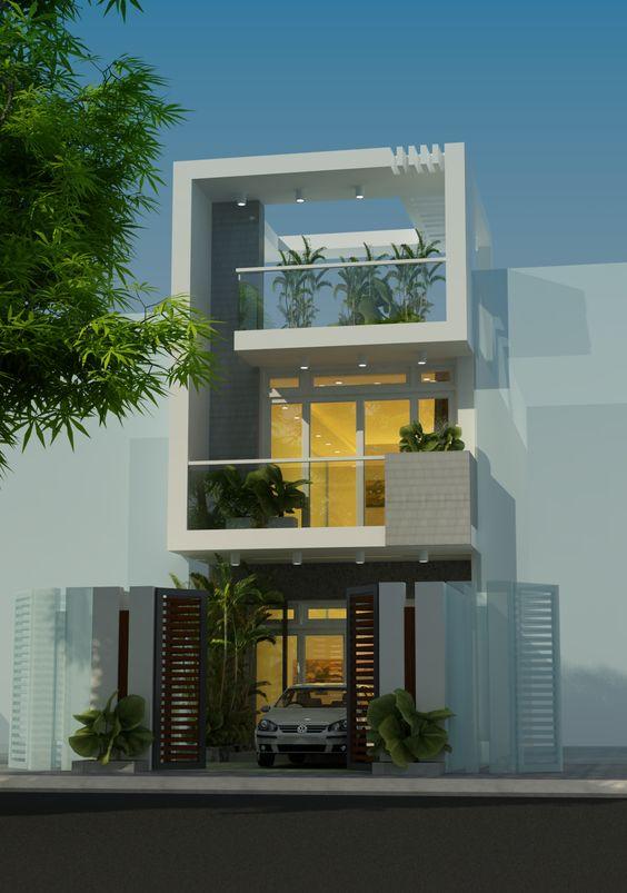 Mặt tiền mẫu nhà phố đẹp 3 tầng hiện đại 1