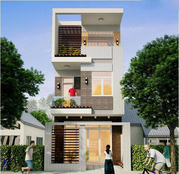 Mặt tiền mẫu nhà phố đẹp 3 tầng hiện đại 11