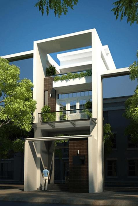 Mặt tiền mẫu nhà phố đẹp 3 tầng hiện đại