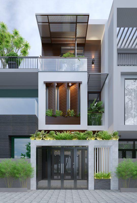 Mặt tiền mẫu nhà phố đẹp 3 tầng hiện đại 3