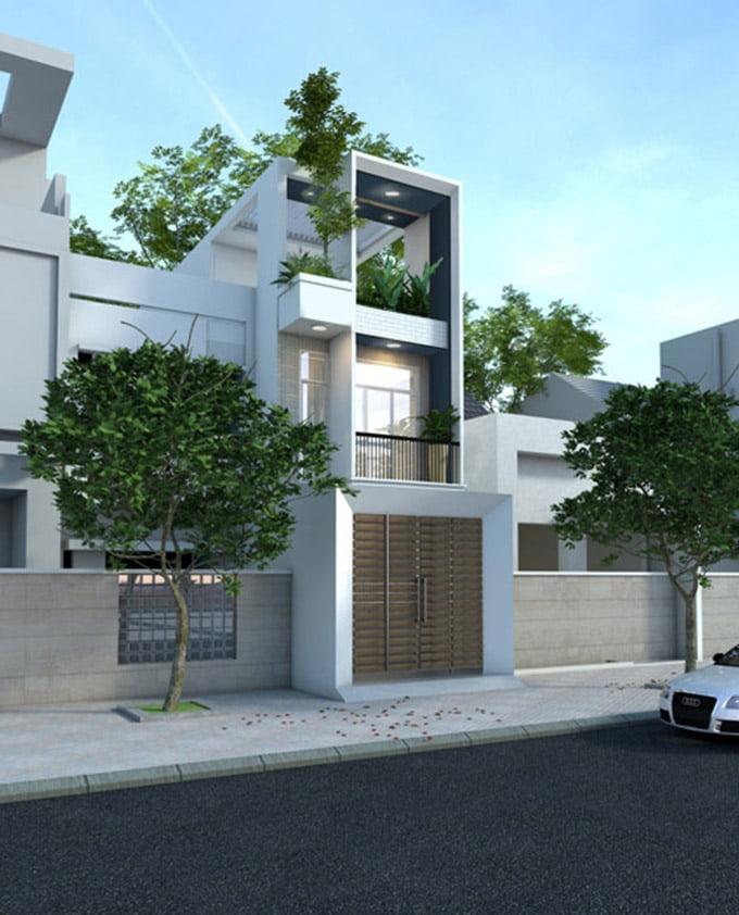 Mặt tiền mẫu nhà phố 3 tầng hiện đại 4