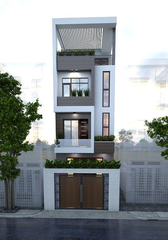 Mặt tiền mẫu nhà phố đẹp 3 tầng hiện đại 5