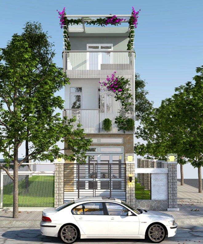 Mặt tiền mẫu nhà phố đẹp 3 tầng hiện đại 6