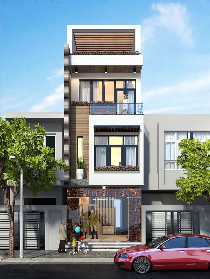 mẫu nhà phố mặt tiền 5m 3 tầng 2