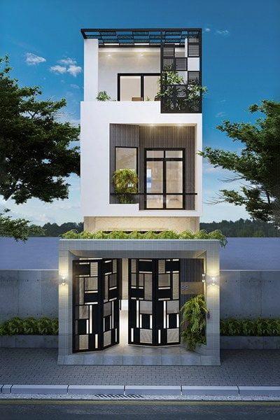 mẫu nhà phố mặt tiền 5m 3 tầng 12