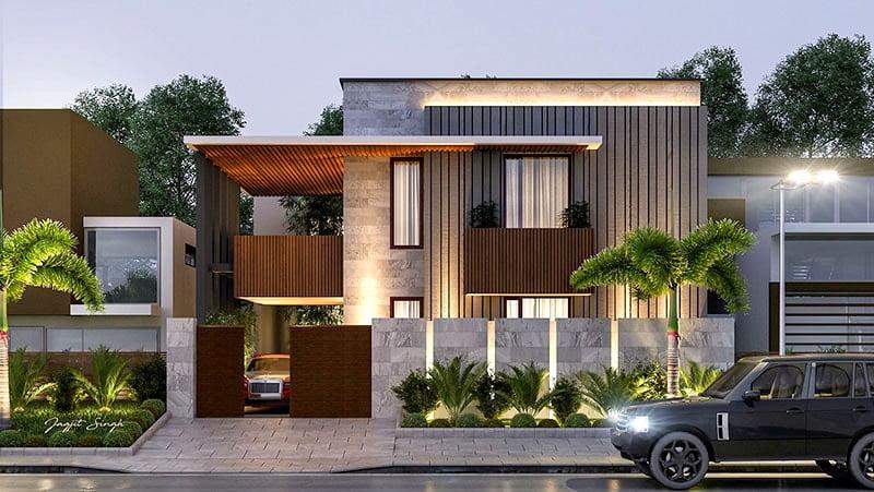 mẫu thiết kế biệt thự 2 tầng 200m2 hiện đại 1