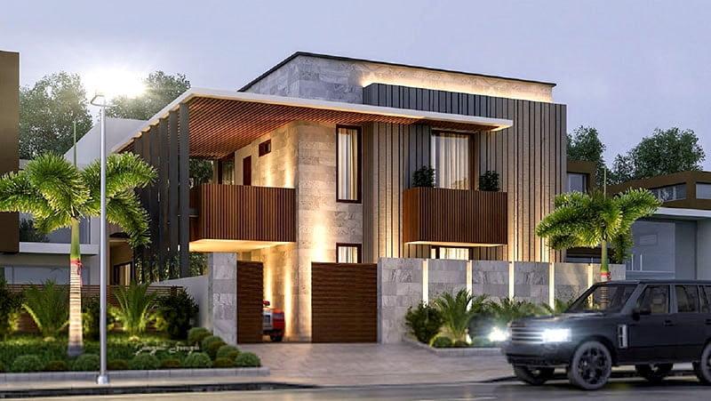 mẫu thiết kế biệt thự 2 tầng 200m2 hiện đại 2
