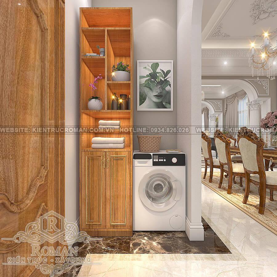 mẫu biệt thự 2 tầng kiểu Pháp phòng giặt