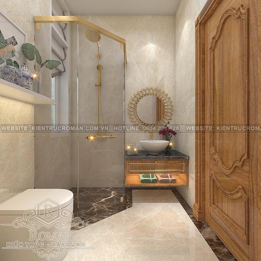 mẫu biệt thự 2 tầng kiểu Pháp phòng tắm trệt