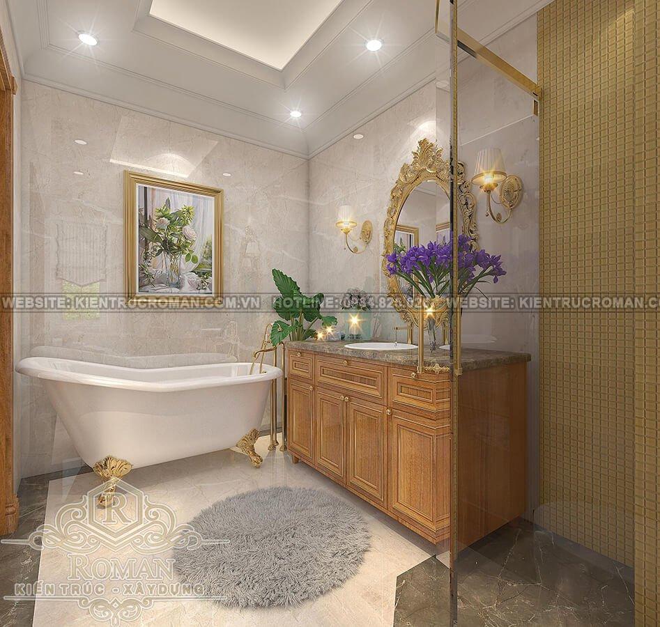 mẫu biệt thự 2 tầng kiểu Pháp phòng tắm master