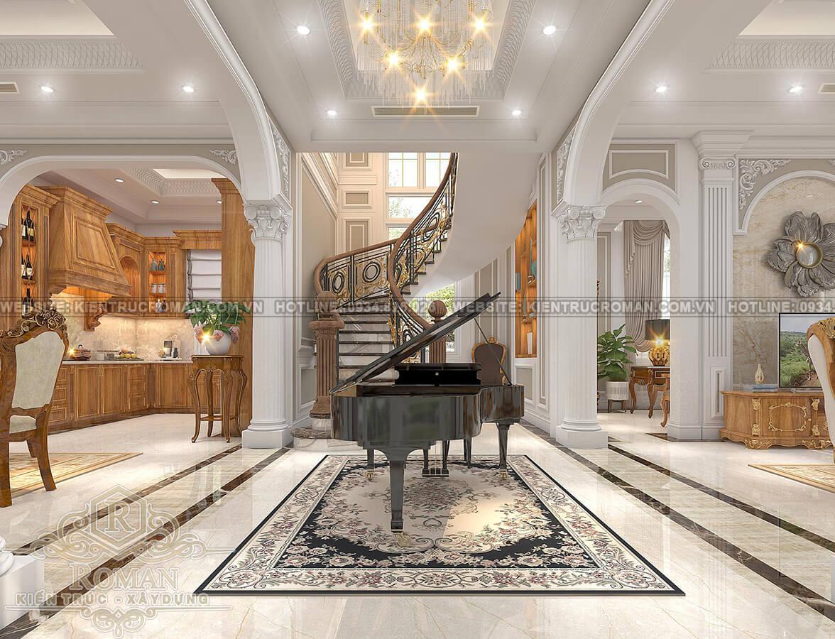 mẫu biệt thự 2 tầng kiểu Pháp sảnh đón