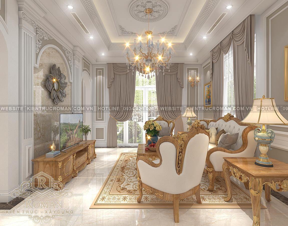 mẫu biệt thự 2 tầng kiểu Pháp phòng khách