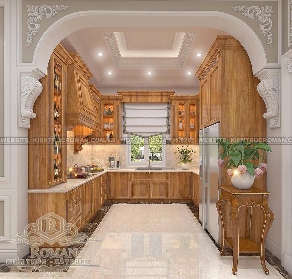 mẫu biệt thự 2 tầng kiểu Pháp phòng bếp