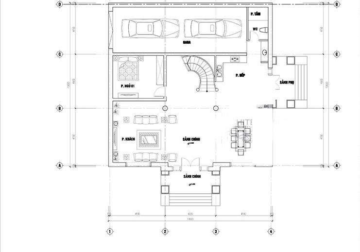 mẫu biệt thự 200m2 cổ điển 3 tầng 3