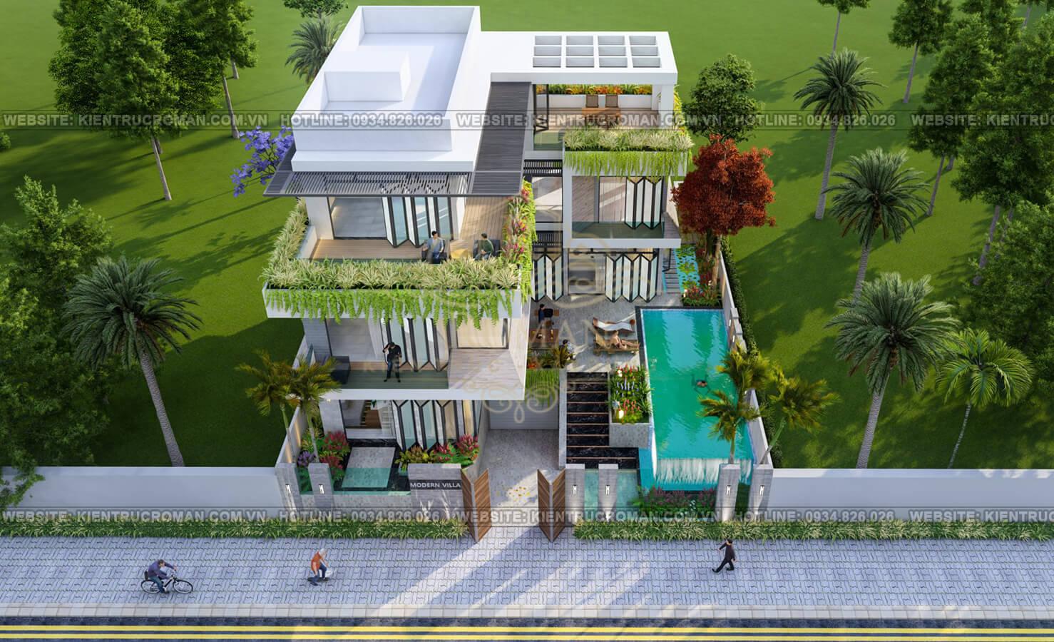 mẫu biệt thự 3 tầng hiện đại 1