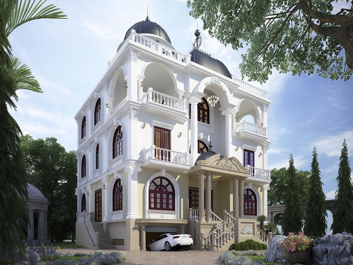 biệt thự có tầng hầm phong cách cổ điển