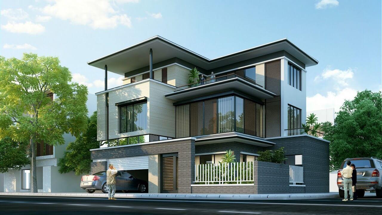 mẫu biệt thự hiện đại 3 tầng mái bằng 1