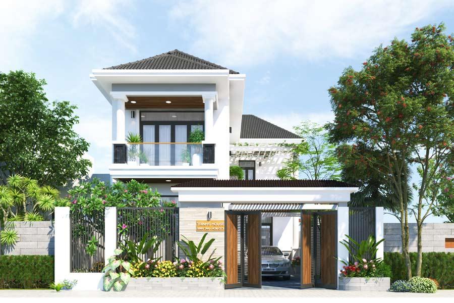 mẫu biệt thự nhà vườn 2 tầng đẹp hiện đại 5