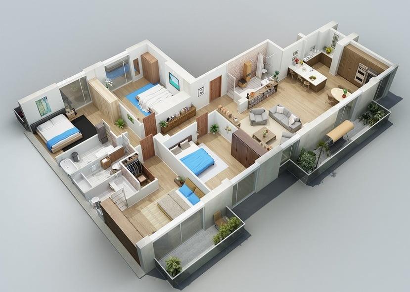 bản vẽ thiết kế nhà vườn 1 tầng 4 phòng ngủ