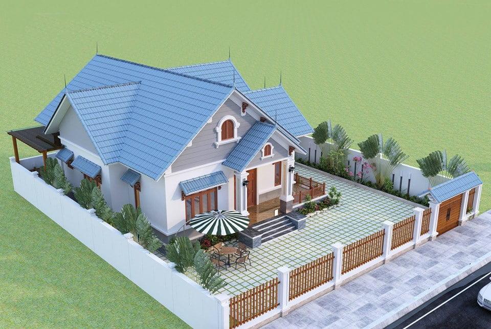mẫu thiết kế nhà vườn 1 tầng 4 phòng ngủ 2