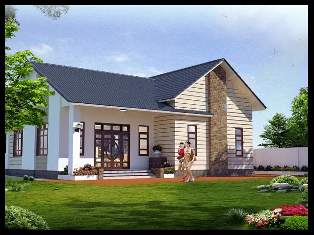 mẫu thiết kế nhà vườn 1 tầng 4 phòng ngủ 5