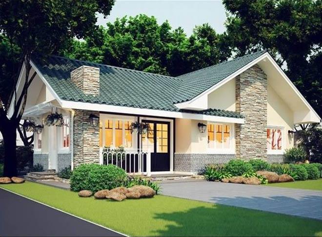 mẫu thiết kế nhà vườn 1 tầng 4 phòng ngủ 6