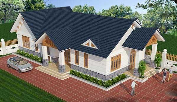 mẫu thiết kế nhà vườn 1 tầng 4 phòng ngủ 12