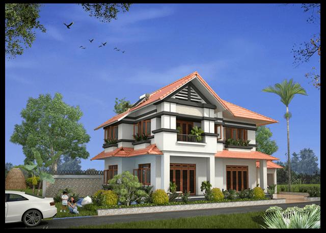 mẫu thiết kế biệt thự vườn 2 tầng mái thái đẹp 2018 3