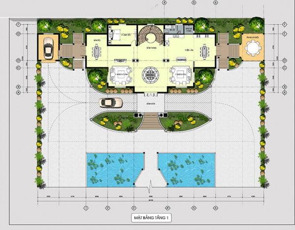 mẫu dinh thự 2 tầng đẹp