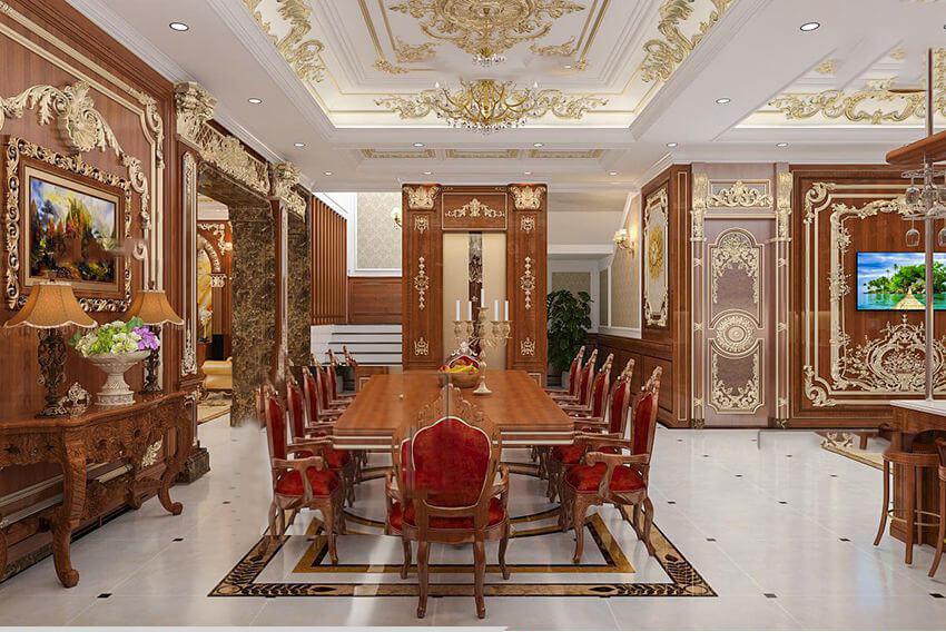 mẫu dinh thự 2 tầng đẹp phòng ăn