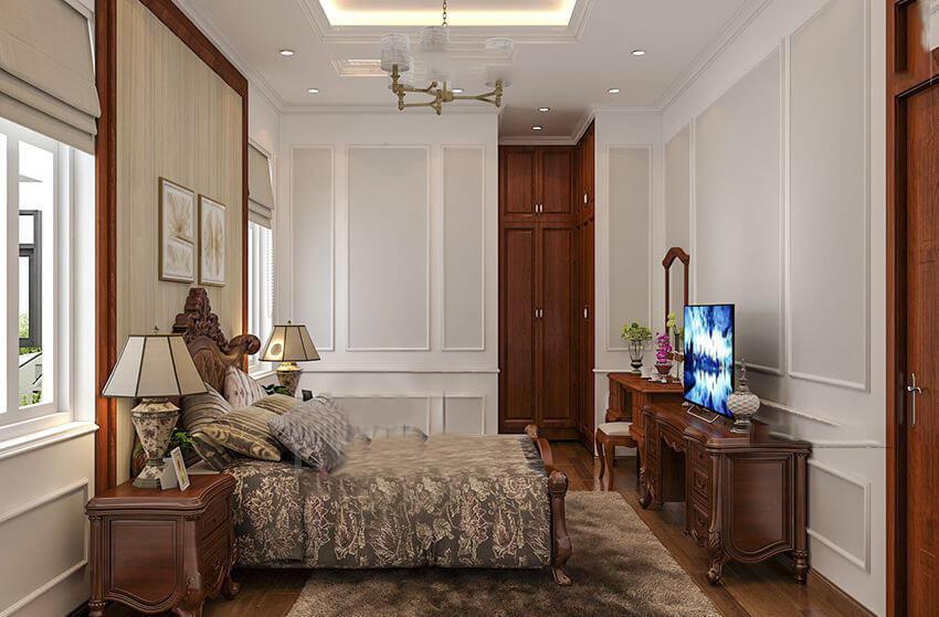 mẫu dinh thự 2 tầng đẹp phòng ngủ