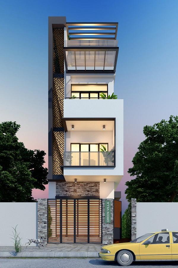 mẫu thiết kế kiến trúc nhà phố đẹp hot nhất xu hướng hiện nay 10