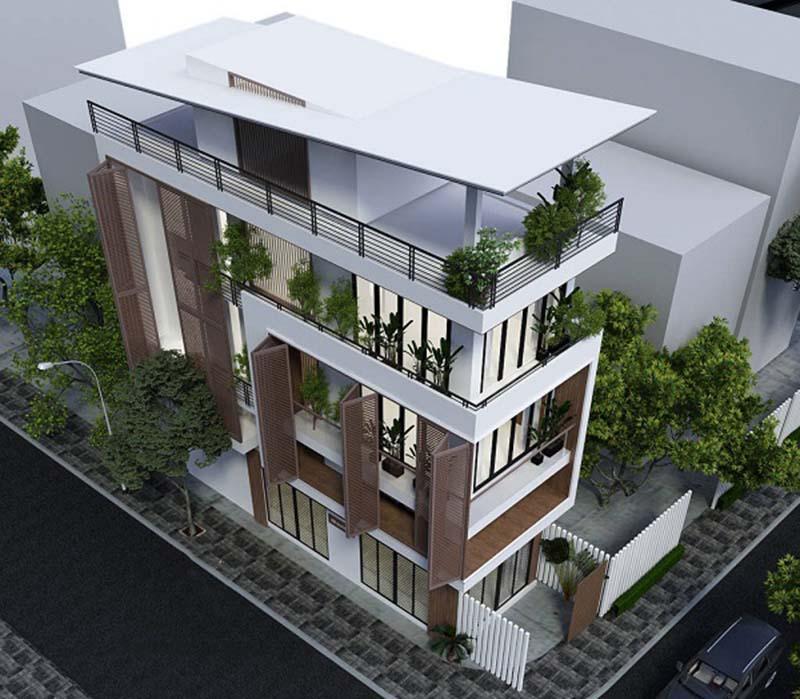 mẫu thiết kế kiến trúc nhà phố đẹp hot nhất xu hướng hiện nay 13
