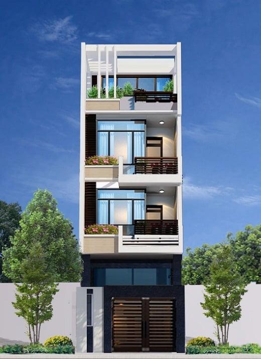 mẫu thiết kế kiến trúc nhà phố đẹp hot nhất xu hướng hiện nay 1