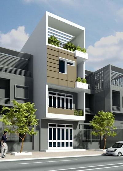mẫu thiết kế kiến trúc nhà phố đẹp hot nhất xu hướng hiện nay 4