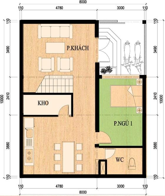 mẫu nhà 2 tầng 8x10m 10