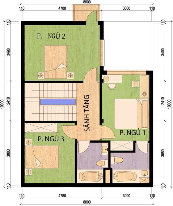 mẫu nhà 2 tầng 8x10m 11