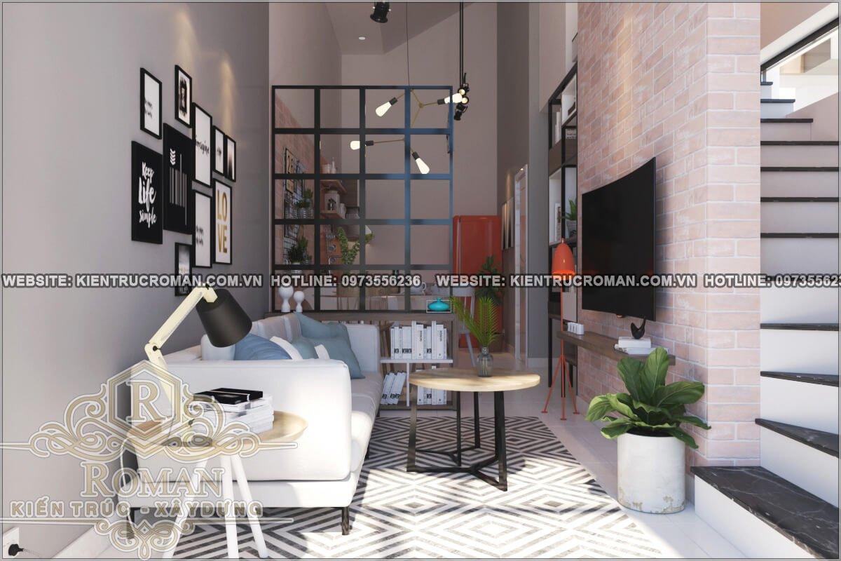 phòng khách mẫu nhà 2 tầng đẹp độc đáo