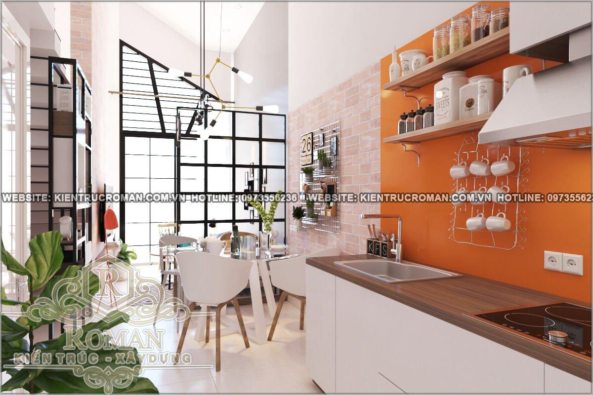nhà bếp và phòng ăn mẫu nhà 2 tầng đẹp