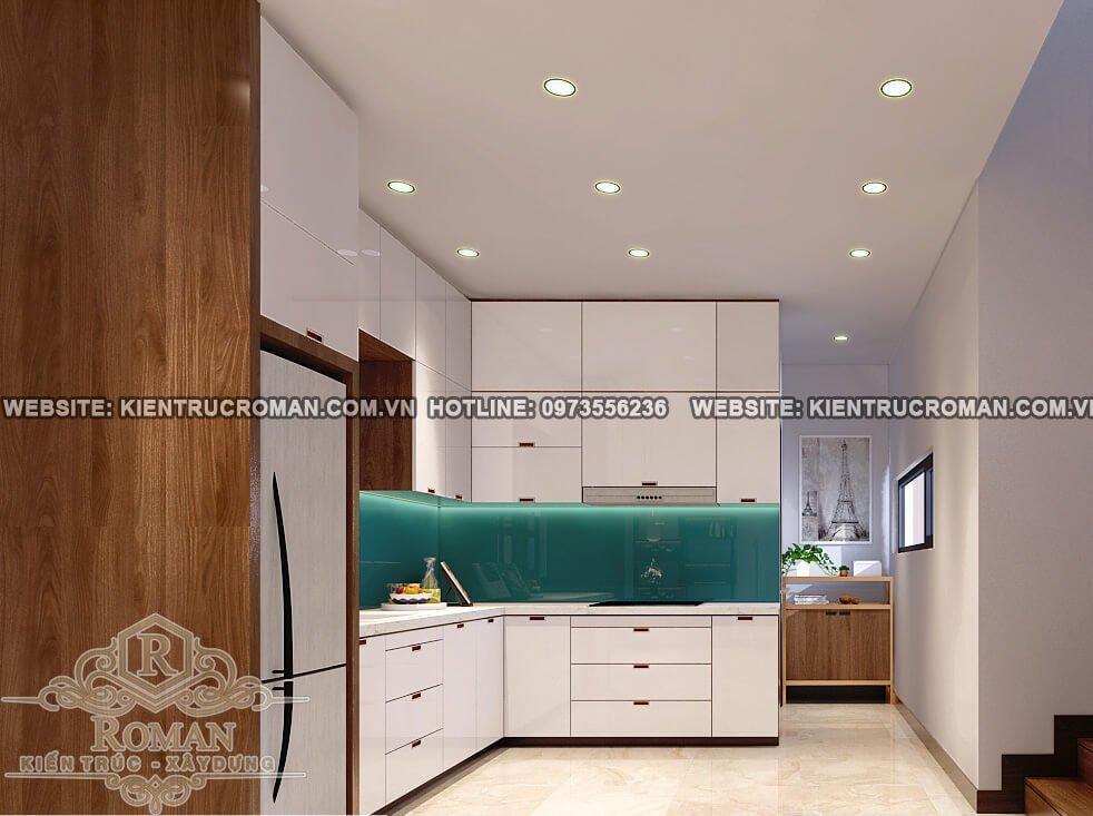 nhà bếp mẫu nhà 2 tầng đơn giản màu đẹp