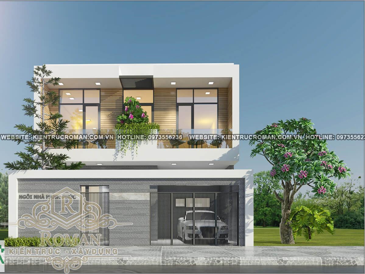 mặt tiền mẫu nhà 2 tầng đơn giản mà đẹp